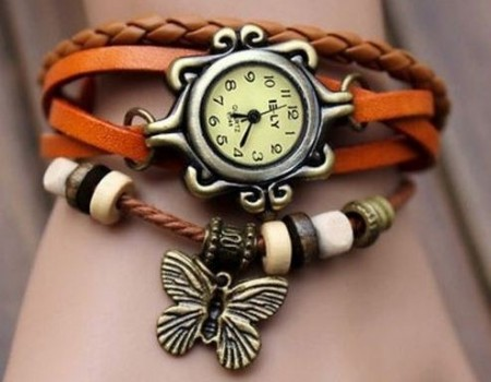 Hippie chic vintage klokke ( orange )