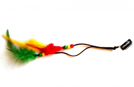 "Clip on feather extension ""rasta"""
